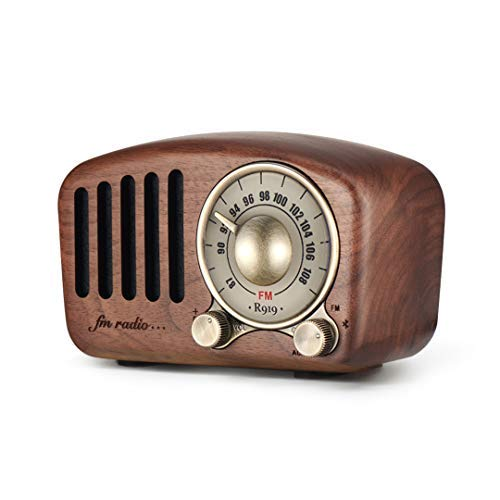Vintage Radio Retro Bluetooth Speaker- Greadio Walnut Wooden FM Radio with Old Fashioned Classic Style, Strong Bass Enhancement, Loud Volume, Bluetooth 4.2 Wireless Connection, TF Card & MP3 Player