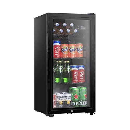 HAILANG 32 cuft Beverage Refrigerator Cooler Mini Fridge with Glass Door for Beer Soda or Wine Perfect for HomeBar Office