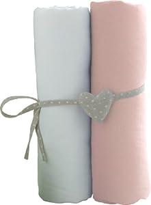 Babycalin - Set de 2sábanas bajeras, blanco/rosa