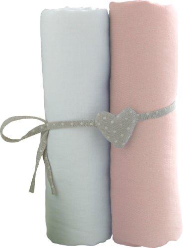 Lot de 2 Draps Housse Blanc/Rose Babycalin 60 x 120 cm