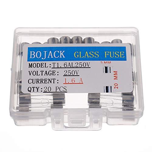 BOJACK T1.6AL250V 5x20 mm 1.6A 250V Langsamer Schlag Glas sicherungen 1.6 Ampere 250 Volt 0,2 x 0,78 Zoll Glasrohr Verzögerungs sicherungen (Packung mit 20 Stück)