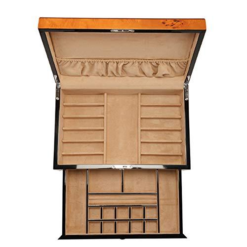 Laogg Chinesische Schmuckschatulle,Klavierlack Holzuhr Schmuckschatulle Holzschmuck Ohrringe Halskette Halskette Sammlung Aufbewahrungsbox,Chinesische Hochzeit Aufbewahrungsbox