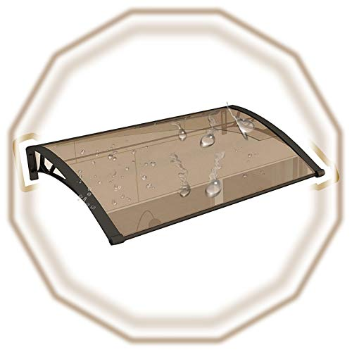 Türdach Überdachung, Leise Schnee Regen VU Schutz Veranda Markise Regenschutz Mit Schwarzer Klammer Für Hausfronten (Color : Brown, Size : 80x100cm)