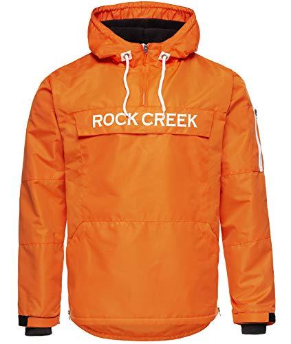 Rock Creek Herren Windbreaker Jacke Übergangsjacke Anorak Schlupfjacke Kapuze Regenjacke Winterjacke Herrenjacke Jacket H-167 Orange M