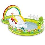 Rainbow Garden - Piscina infantil (290 x 180 x 104 cm, puede contener 450 litros de agua, con 2 setas hinchables, 4 mariposas hinchables, 3 pelotas de océano hinchables