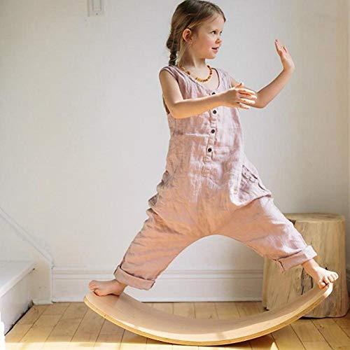 genialkiki Wobble Balance Board aus Holz, Gentle Monster 33-Zoll-Rocker-Board aus Naturholz, offenes Lernspielzeug für Kleinkinder, Yoga Curvy Board für Erwachsene im Klassenzimmer und im Büro
