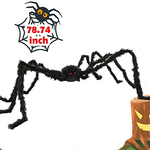 6.5ft Large Halloween Decorations Outdoor Spider Posable Furry Black Giant Scary Fuzzy Spiders...