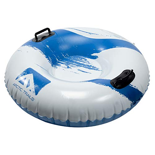 Arctic Trails Single Person Inflatable Snow Sled – Heavy Duty Snow Tube for Kids – Long Lasting Fun – Blue White