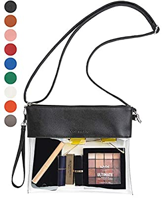 Vorspack Clear Crossbody Purse Bag Stadium Approved Fashion Clear Bag PU Leather Wristlet Handbag with Adjustable Shoulder Strap for Events Concerts Festivals Work