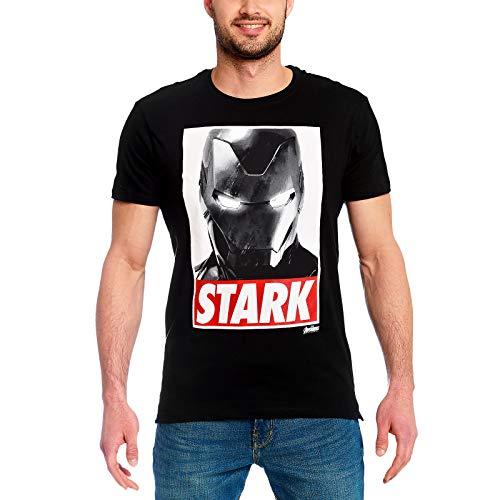 Iron Man Elbenwald Marvel T-Shirt Stark Brustprint für Herren schwarz - L