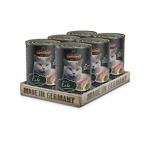 Leonardo Nassfutter [6x400g Ente]   Getreidefreies Nassfutter für Katzen   Feuchtfutter Alleinfutter aus der Dose