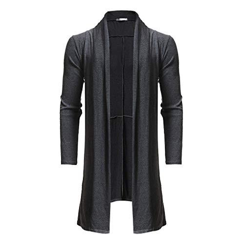 Herren Strickjacke stoffjacke frühjahrsjacken langmantel Langer übergangsmantel Männer Casual Pure Color Lose Mittellanger Mantel Outwear Cardigan CICIYONER