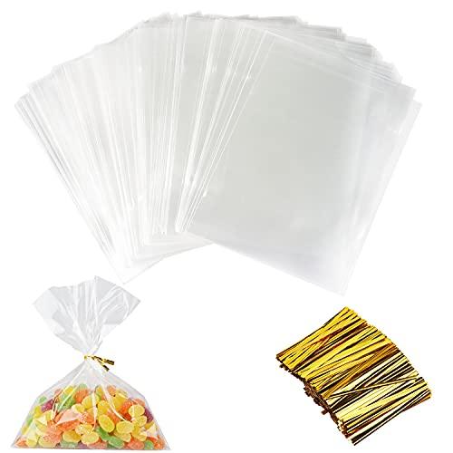 200 Piezas BolsasTransparentes, Bolsa Plástico, BolsasCelofanTransparente Bolsas Plástico OPP de Regalo para Cumpleaños Fiesta Boda Alimentos Galletas Caramelos Dulces Bombones Piruleta(15x20cm)