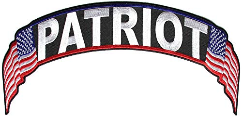 Patriot US Flag Rocker Patch - 12x2.5 inch. Embroidered Iron on Patch