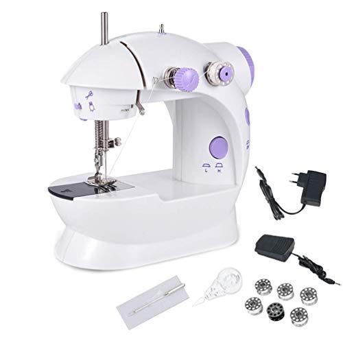 Niocase Mini Machine à Coudre Portable, Machine à Coudre Domestique multifonctionnelle pour Enfants débutant à Vitesse réglable AC100-240V, avec Un Ensemble Complet...
