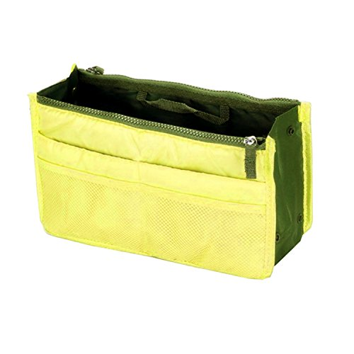 Handtaschen-Organizer, doppel-Reißverschluss mit Griffen und 12 Fächern (Farbe: gelb)