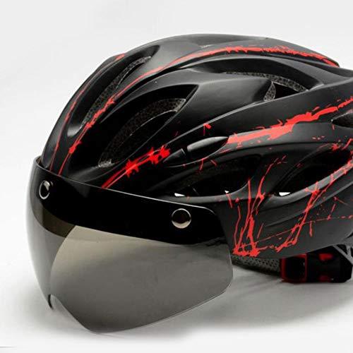 OUYA Casco para Bicicleta al Aire Libre con Gafas magnéticas, Casco Ligero para Bicicleta de Carretera para Hombres y Mujeres (se Adapta a tamaños de Cabeza de 53 a 62 cm),C