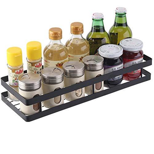 PIGPIGFLY Especiero Cocina con 4 Ganchos,Speciero de Pared o para Armario,Organizador Cocina,Estanterías para Especias de Acero Inoxidable,Botella de Especias Poseedor