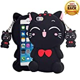 YINTRADE Kawaii Phone Case for iPhone 5 5S SE, 3D Cute Cartoon Lucky Cat Animal Soft Rubber Silicone Shockproof Drop Protection Skin Durable Bumper Case for Girls Kids Teens Ladies (Black)