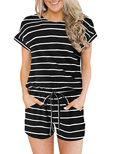 ANRABESS Women's Summer Crewneck Striped Short Sleeve Casual Loose Rompers One Piece Short Jumpsuit Pajamas heibaitiao-L BYF-33