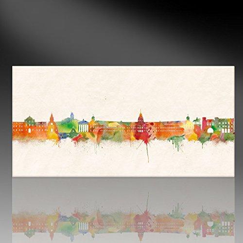 Kunst Druck auf Leinwand - Skyline Karlsruhe (div. Größen) Bild fertig auf Keilrahmen ! Graffiti Like Banksy Art Gemälde Kunstdrucke, Wandbilder St (90x180cm)