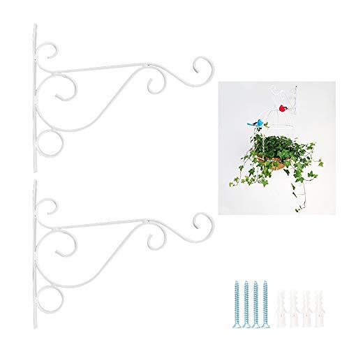 JNCH 2pcs Soporte Colgante Plantas de Pared Gancho Colgador de Hierro para Colgar Plantas Flores Maceta Cestas Colgantes Campanas de Viento Linternas Pájaros Accesorios Tornillos Incluídos (Blanco)