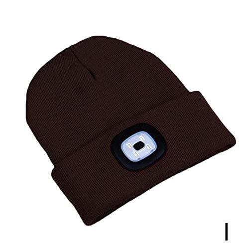 GZTCAP Beanie Sombrero Gorro con luz LED, Gorros cálidos para Hombres y Mujeres, Gorro de Punto Unisex, Otoño Invierno, Faros para Exteriores, Caza, Camping, Sombrero para Correr