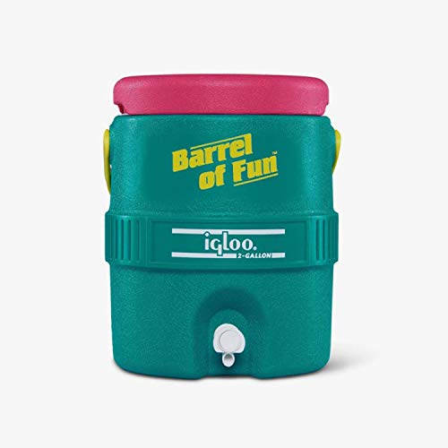 Igloo Special Edition Retro 2 Gallon Barrel of Fun Cooler Jug with Drip Resistant Spigot and Swing Up Bail Handle, Multicolor