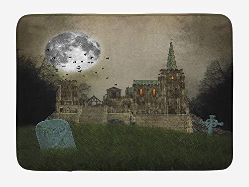 Gotische badmat, Oud Dorp en Graven met Middeleeuws Kasteel en Volle Maan Vogels Mist Horror Art, Pluche Badkamer Decor Mat met Non Slip Backing, 23,6 x 15,7 Inch, Beige Groen