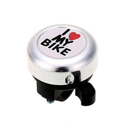 ADDFOO Campana de Bicicleta -' I Like My Bike'Bocina de Bicicleta - Anillo de Aluminio Fuerte Accesorios de Bicicleta para Bicicletas de Adultos Hombres Mujeres Ninos Chicas Chicas (Plata)