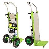 Carrito eléctrico Carrito de equipaje plegable Carrito de acero inoxidable Carrito para subir escaleras Remolque de compras con ruedas de goma (Verde)