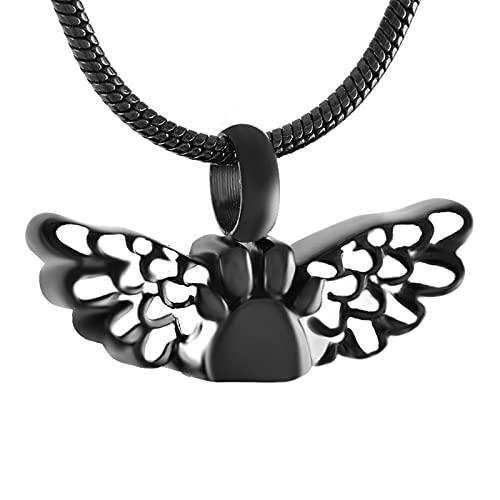 Colgante de cremación para Cenizas, Mini ala de ángel con medallón de Pata de Perro/Gato, Collar de Recuerdo de Acero Inoxidable, joyería Conmemorativa para Mascotas