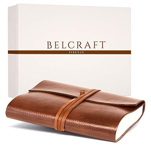 Tivoli A5 mittelgroßes Notizbuch aus recyceltem Leder, Handgearbeitet in klassischem Italienischem Stil, Geschenkschachtel inklusive, Lederbuch, Tagebuch A5 (15x21 cm) Hellbraun Braun Clair