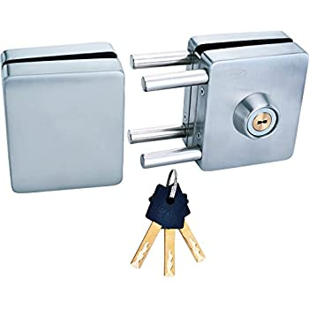 Spider Stainless Steel Glass Door Lock Square Lock with SS Finish, One Side Knob & One Side Key(GDL03R)