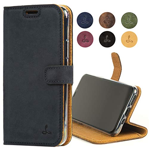 Snakehive iPhone 11 Pro Max Schutzhülle/Klapphülle echt Lederhülle mit Standfunktion, Handmade in Europa Bye iPhone 11 Pro Max (Blau)