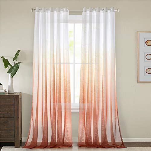 Lindong - Cortina de gasa transparente con ojales, color degradado, para dormitorio o salón, 1 unidad, tela, naranja, 140x225 (BxH), Stück x1