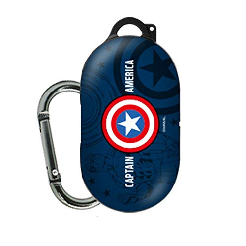 Cartoon Case Cover for Samsung Galaxy Buds Earphone with Avengers Character (Captain America - Blue)