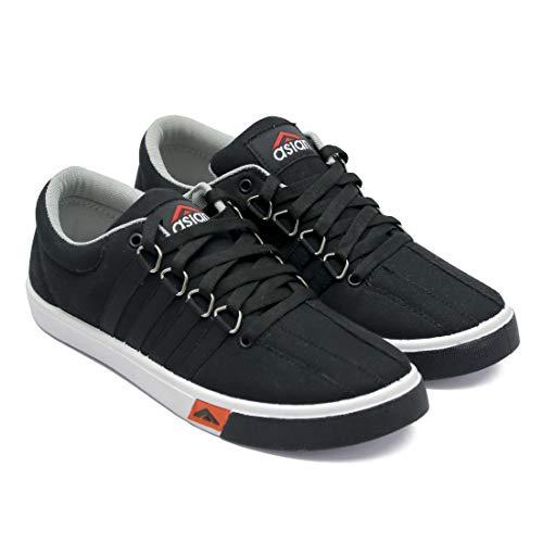 ASIAN SM-162 Walking Shoes,Casual Shoes,Canvas Shoes,Laceup Shoes,Sneakers for Men (UK-8, Black)
