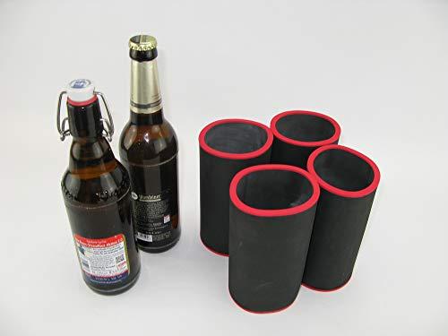 asiahouse24 4er Set schwarz Getränkekühler 0,5l Flasche - Bierkühler - Neoprenkühler - passgenau ~Flaschenkühler~ für alle genormten 0,5l Bierflaschen aus hochwertigen 5-6mm starken Neopren