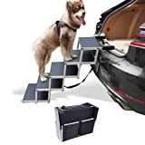 Petshug 5 Steps Aluminum Sturdy Pet Stairs for Large Dogs, Folding Lightweight Dog Steps with Increased Nonslip Surface for Trucks, Cars, SUV and High Beds, Portable Ladder Ramp Supports Up to 200 Lbs