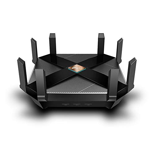 TP-Link Archer AX6000 Wi-Fi 6 WLAN Router (4804 Mbit/s 5 GHz, 1148 Mbit/s 2,4 GHz, 8 × Gigabit LAN-Ports, 2 × USB 3.0 auf Type A undType C, HomeCare, Schnellinstallation), schwarz
