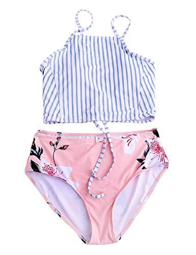 Macolily Juniors Bandeau High Neck Bikini Top Cross Tie Back MId Waist Swimsuit (Blue Stripe, S)