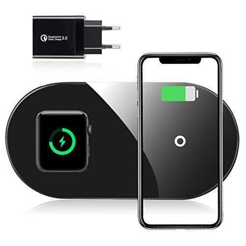 Te-Rich Wireless Charger für iPhone und Apple Watch, AirPods Ladepad mit QC 3.0 Adapter, 7.5W Qi Ladestation für iPhone 11/X/XS/XR/8, 10W Induktions Ladegerät für Galaxy S10/S9/Note10 und mehr
