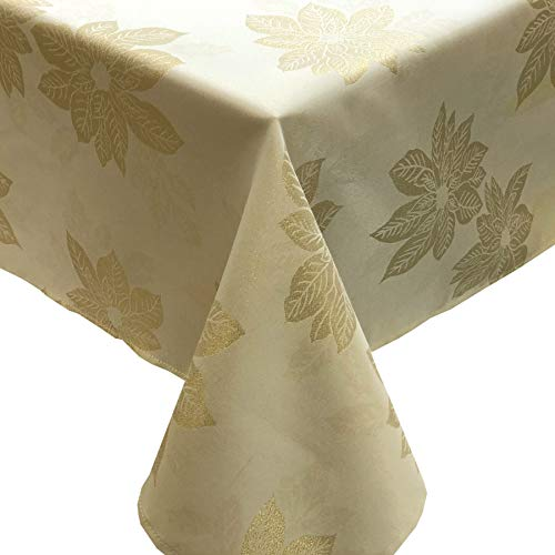 CAIT CHAPMAN HOME COLLECTION Holiday Golden Poinsettia Metallic Yarn Dyed Jacquard Woven Tablecloth and Runner (60' x 120' Tablecloth)