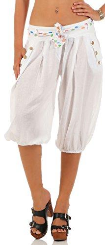 Malito Damen Pumphose in Unifarben | lässige Kurze Hose | Bermuda für den Strand | Haremshose - Pants 3416 (weiß)