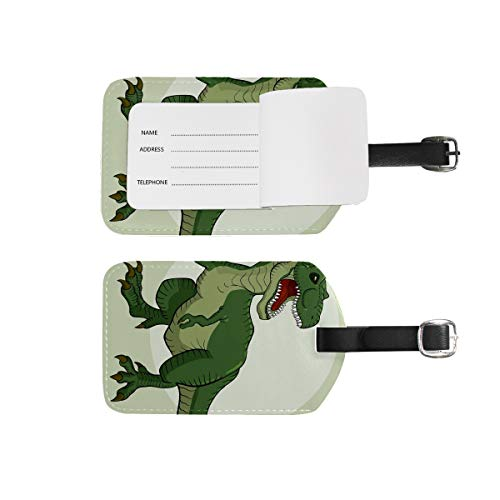 Luggage Tags Address Name Holder,2Pcs Portable Identifier Label Set Checked Card Bag Decoration Travel Gear Gifts for Suitcases Bags Dinosaur