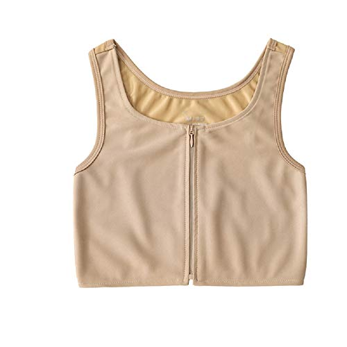 MISWSU Front Zipper Summer Breathable Mesh Chest Binder for Tomboy Trans Lesbian(Nude,S)