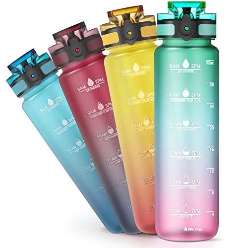 Sahara Sailor Bottiglia Acqua,1000 ml Sportiva Borraccia con Contrassegno del Tempo Motivazionale,di Bevanda Borraccia in Plastica Tritan Senza BPA Adatta per Sport,Bambini,Scuola,Bici