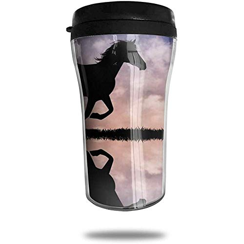 Pferd Silhouette bei Sonnenuntergang Reisen Kaffeetasse 3D gedruckt tragbare Saugnapf, isolierte Teetasse Wasserflasche Becher zum Trinken mit Deckel 8,54 oz (250 ml)
