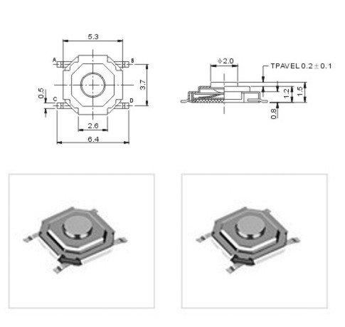 10 St SMD SUB-Miniatur-Taster Neu superflach kleinste Abmessungen, perfekt für Fernbedienungen und AutoFFB